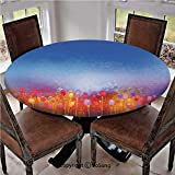 "SoSung Elastic Edged Polyester Fitted Table Cover,Tulip Garden Under Blue Sky in Medieval Ottoman Culture Symbols,Fits up 45""-56"" Diameter Tables,The Ultimate Protection for Your Table,Multi"