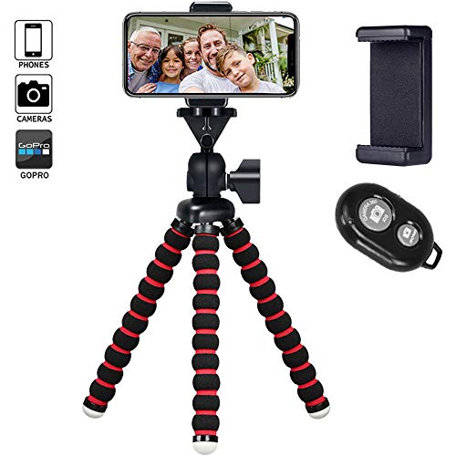 Cell Phone Tripod Travel Portable Tripod with Bluetooth Remote Cellphone Holder 360 Panorama Ball Head for Camera