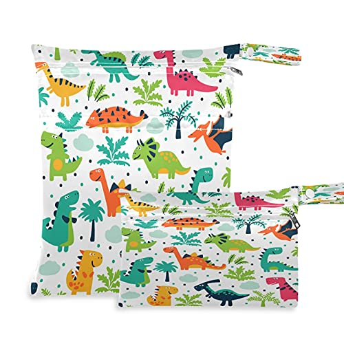 2 bolsas de tela para pañales húmedos, impermeables, diseño de palmera de dinosaurios tropicales, reutilizables, lavables, para viajes, playa, yoga, gimnasio, para trajes de baño, ropa húmeda