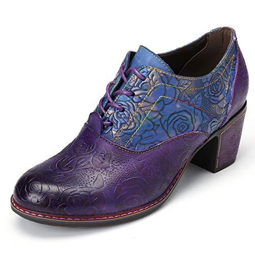gracosy Botines para Mujer Tacones de Cuero Primavera y Otoño Zapatos de Cuero Boho para Mujer 2020 Café Azul Antideslizante Zapatos Oxford