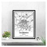 LTGBQNM Mapa de Salamanca Imprimir Cartel Lienzo |Mapa de la Calle Salamanca |España Ciudad Mapa Imprimir Cartel Lienzo 20x28inch Sin Marco