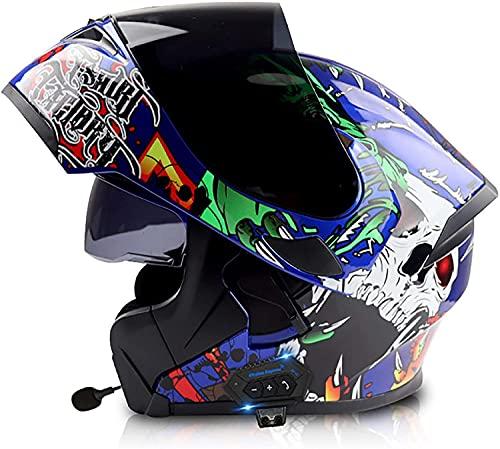 Cascos plegables de casco de motocicleta Cascos modulares con auriculares Bluetooth, Casco integral certificado por ECE Casco de motocicleta Casco de doble lente Casco Casco Casco Casco para mujeres a