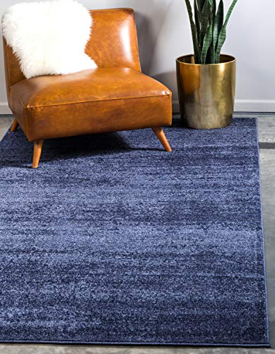 Unique Loom Del Mar Collection Contemporary Transitional Navy Blue Area Rug (9' 0 x 12' 0)