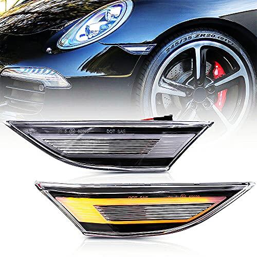 NSLUMO Led Side Marker Lights for Porsche 991 Carrera 981 982 Box-ster 718 Cayman Clear Lens Amber LED Side Marker Assembly