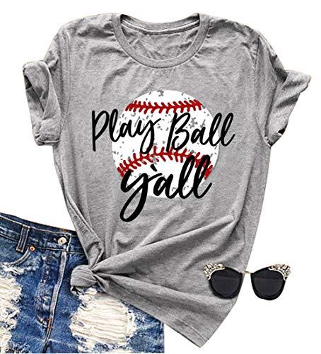 Play Ball Y'all Letter Print T Shirt Women Baseball Mom Cute...