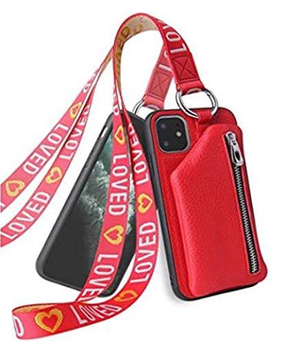Funda para iPhone 12 / iPhone 12Pro con tarjetero, correa para el cuello, no ajustable, piel sintética, correa para el cuello, para iPhone 12 / iPhone 12Pro, rojo (Rojo) - YDYG-3GLQOM-8