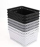 Bekith 9 Stück Aufbewahrungskiste Kunststoffkörbe BPA-frei Haushaltskorb Körbchen Geflochten Aufbewahrungskorb für Bad Küche Kinderzimmer 25 x 19,5 x 10 cm (Schwarz/ Grau/ Weiß)
