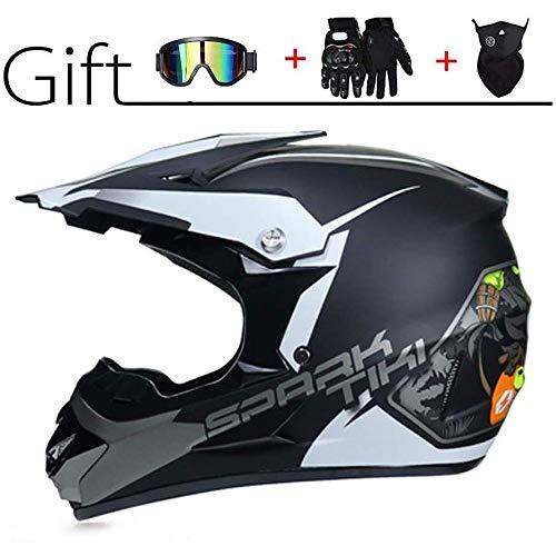 Motorrad Helm Motocross Helme City Helme BMX Helme Motorrad Crosshelme, Kreative Persönlichkeit Lokomotive Mountainbike Helm, Handschuhe Maske Brille (Set von 4)