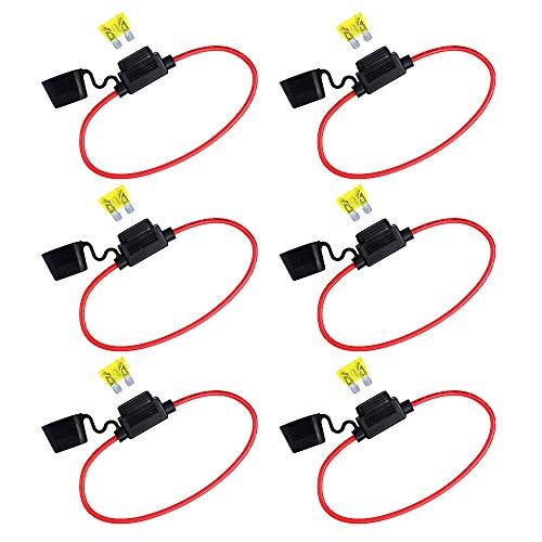 Surplex 6 Pack Support Porte Fusible Lame Enfichable Etanche + 6 pièces de Fusible à Lame, 32V 20A Kit de fusibles en ligne 14 AWG pour voiture, bateau, camion