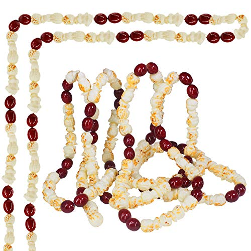 18 feet Artificial Popcorn and Cranberry Garland Strand Old Fashion Christmas Tree Garland String for Christmas Holiday Season Vintage Decoration