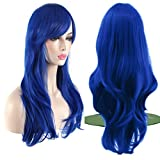 AKStore Fashion Wigs 28' 70cm Long Wavy Curly Hair Heat Resistant Wig Cosplay Wig For Women With Free Wig Cap (Blue)