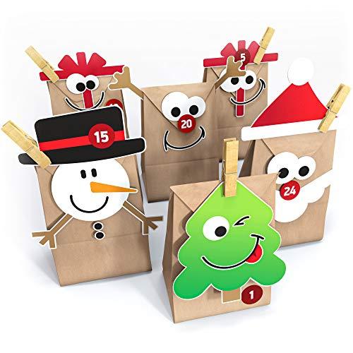 Adventskalender zum Befüllen - Adventskalender Tüten mit Stickern zum selber basteln für Kinder & Erwachsene - Mit Tannenbaum, Weihnachtsmann, Nikolaus, Rentier - XXL Adventskalendertüten