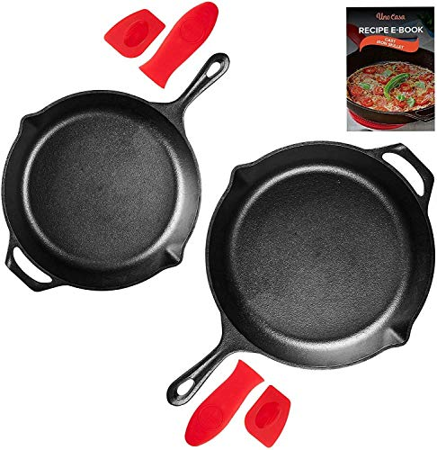 Uno Casa Cast Iron Skillet Set - 2-Piece Set 10 Inch and 12 Inch - Pre-Seasoned Cast Iron Frying Pan - Oven Safe with Silicone Handles and Recipe E-Book