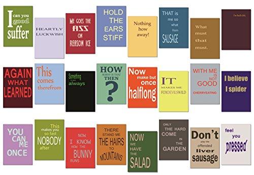 tom bäcker Denglisch Postkarten Set/Mix - 24 Karten - Nr 1 - ADVENTSKALENDER - Engleutsch for Oncatcher - Das Original - Denglish - Sprüche Englisch - Geschenk für Lehrer - lustig