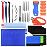 PACETAP Car Vinyl Wrap Tool kit 11 Pcs Window Tint Tools Kit Including Package Bag, Felt Squeegee, Edge Trimmer, Soft Corner Squeegee, Retractable Kinfe and 10Kinfe Blades, Carving Knife, Cut Knife