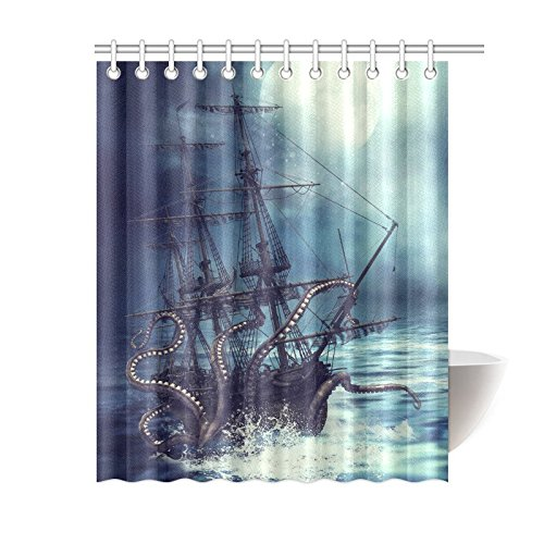 INTERESTPRINT Pirate Ship Octopus Custom Shower Curtain 60 X 72 Inches Waterproof Polyester Fabric Bathroom Sets