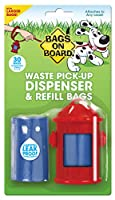 Bags on Board Red Fire Hydrant Dog Waste Bag Dispenser with 30 bags makes picking up after your dog quick and simple Sturdy, compact dog poop bag dispenser holds 15 large poop bags, and when it's time to refill, simply pop off the top and reload Bags...