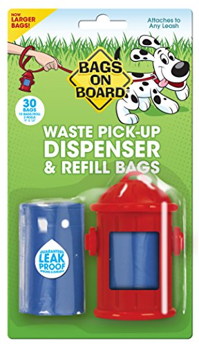 Bags on Board Fire Hydrant Style Dog Waste Bag Dispenser with 30 Refill Bags Bags On Board Leash