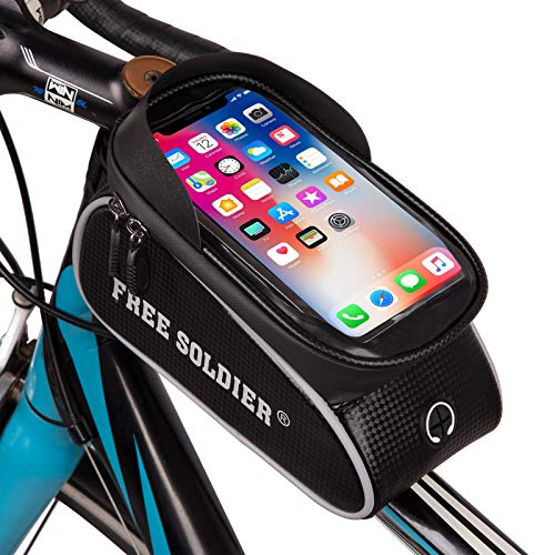 FREE SOLDIER Bike Frame Bag Waterproof Bicycle Bag with Sun Visor Front Top Tube Touchscreen Bike Phone Bag with Headphone Hole Bike Phone Holder for Smartphone Below 6.5 Inch(Silver)