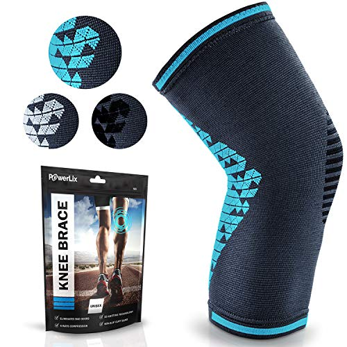 POWERLIX Knee Compression Sleeve   Knee Brace for Men & Women   Helps with Knee Pain   Knee Support for Running, Basketball, Weightlifting, Gym, Working out, Sports - Please check sizing chart