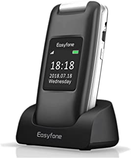 Easyfone Prime A1 3G Senior Unlocked SIM-Free Flip Mobile Phone, Big Button Hearing Aids Compatible Easy-to-Use Mobile Phone with Charging Dock (Black)