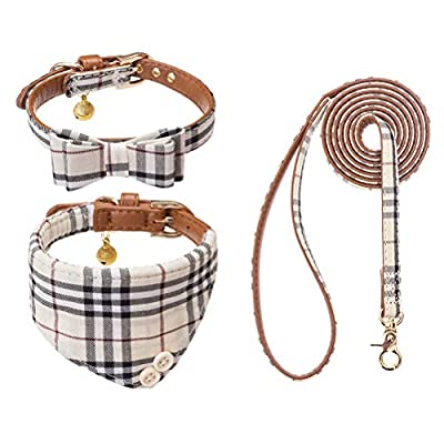 EXPAWLORER Bow Tie Dog Collar and Leash Set Classic Plaid Adjustable Dogs Bandana and Collars with Bell for Puppy Cats 3 PCS Beige