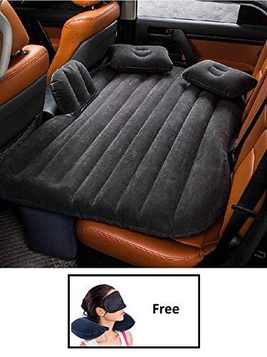 Tishnagi Designer Multifunctional Inflatable Car Bed Mattress with Two Air Pillows, Car Air Pump and Repair Kit (Multi Color)