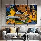 SHYJBH Impresión en HD Naturaleza Muerta con Guitarra de Juan Gris 1913 Pintura cubista española sobre Lienzo Cuadros Famosos Decoración40x60cm sin Marco