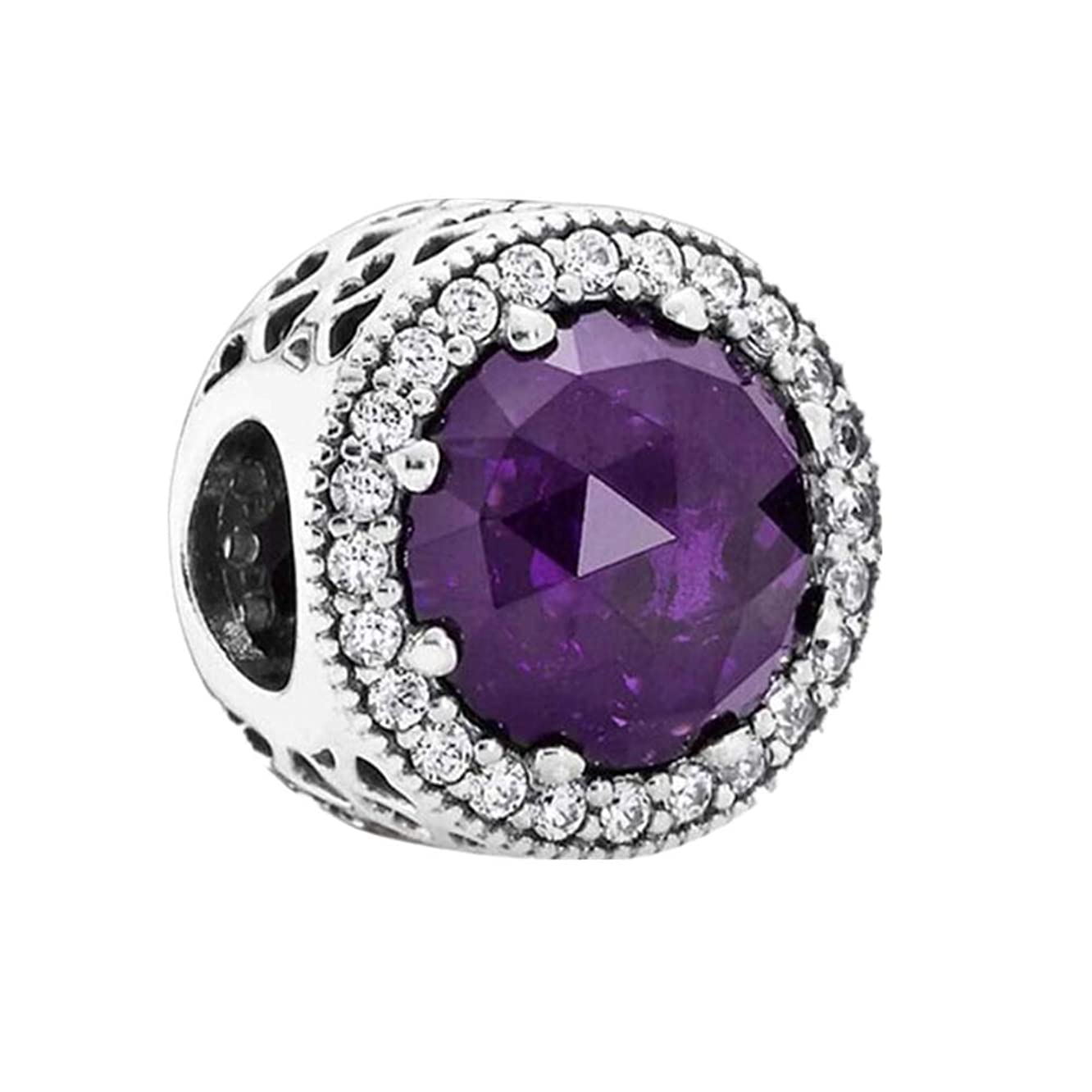 CKK 925 Sterling Silver Classic Crystal Charms for Pandora Charms Bracelets Jewelry Making (Purple)