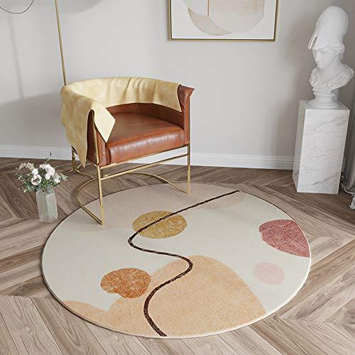 weiwei Alfombra redonda de felpa, moderna, ligera y de lujo con gruesa protección, para el hogar, silla giratoria para colgar, para sala de estar, dormitorio, estudio, alfombra B 140 x 140 cm