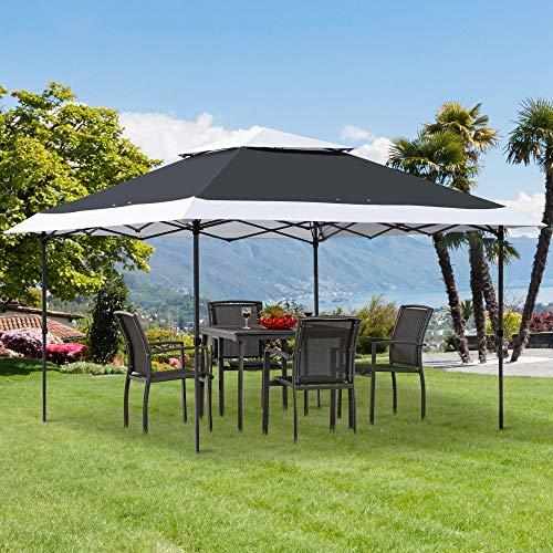 Outsunny Carpa de Fiesta Plegable 3,5x3,5 m Altura Ajustable en 3 Posiciones con Doble Techo y Bolsa de Transporte con Ruedas de Acero para Jardín Exterior Gris y Blanco