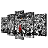 Basketball Wall Art 5 Pieces Nba Legend Michael Jordan Black And White Shoot a Basket Six Seconds Lore for Living Room Gym Decor Artwork for Wall Giclee Print Frame Ready to Install(60''Wx32''H)