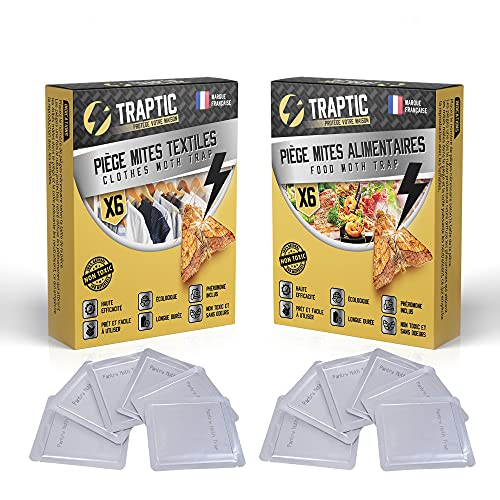 Pack de 6 Antipolillas para Ropa + 6 Trampas para Polillas Alimentos - Eficiencia Formidable para sus Armarios de Ropa y para Cocina – Feromona Natural Sin Olor + EBOOK Gratis