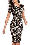 HenzWorld Vestido a Media Pierna de Cóctel con Cuello Redondo para Mujer Estampado Sexy de Leopardo...