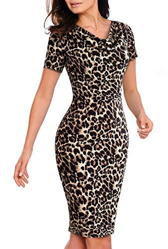 HenzWorld Vestido a Media Pierna de Cóctel con Cuello Redondo para Mujer Estampado Sexy de Leopardo Envuelto en Las Caderas Ajustado Informal de Manga Corta Delgado Vestido de Tubo Talla XL