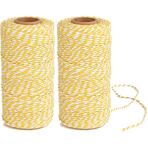 Eison Wedding Twine Holiday Twine Cotton Bakery String Yellow and White Twine Rope Cord for Wedding and Holiday Gift Wrapping, Arts Crafts 656 Feet