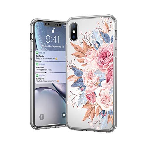 Ti'an Funda de silicona suave para iPhone 11 7 8 6 6S Plus 5 5S SE Retro Hojas Flores Fundas para iPhone XR X XS Max Back Cover-4696-Para iPhone XR