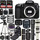Canon EOS 90D DSLR Camera with 18-55mm f/4-5.6 is STM Lens, EF 50mm f/1.8 STM Lens, 500mm f/8.0 Preset Lens, 650-1300mm f/8.0 Manual Zoom Lens, and Professional Lens Bundle