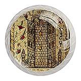 The Tower The Old Tarot Card Pomos de resina para cajones, pomos decorativos para armario, armario, traje de cuatro piezas