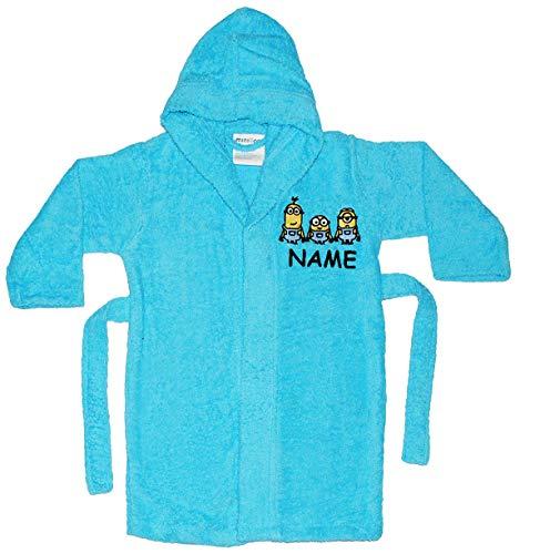 alles-meine.de GmbH Frottee Bademantel -  Minions - Ich einfach unverbesserlich  - incl. Name - 5 bis 8 Jahre / Gr. 116 - 140 - 100 % Baumwolle - mit Kapuze - für Kinder / Mädc..