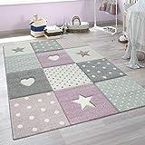 paco home tappeto per bambini a quadri cuori stelle diversi colori e misure, dimensione:120x170 cm, colore:viola