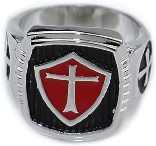 Gungneer Knight Templar Cross Stainless Steel Silver Plated Ring Jewelry Men Women