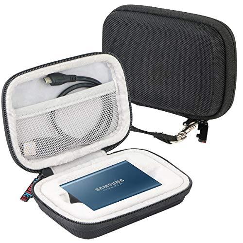 Khanka Case Tasche Schutzhülle für Samsung Portable SSD T5 T3 250GB 500GB 1TB 2TB Festplatte. (Schwarz/Weiß)
