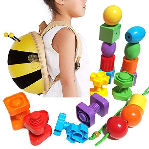Best Toddler Backpack Toys with Lacing Beads for Kids + Nuts and Bolts for Smart Boys and Girls - Montessori Sensory Educational Kids Toys