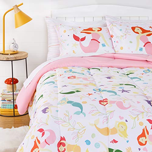 Amazon Basics Kids Easy-Wash Microfiber Bed-in-a-Bag Bedding Set - Full/Queen, Magical Mermaids