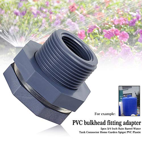 PVC Bulkhead Fitting,2PCS 3/4 Inch PVC Rain Barrels Garden Spigot Kit,for Rain Barrels, Aquariums, Water Tanks, Tubs, Pools