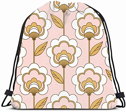 DHNKW Drawstring Backpack String Bag 14x16 Colorful Elegant Chic 1960S Fashion Retro Floral Pattern Flourish Century Vintage 60S Seventies 1970S 70S Sport Gym Sackpack Hiking Yoga Travel Beach