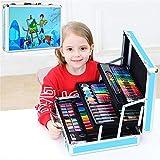 ZZAZXB 158 PCS Pintura Pluma De La Acuarela De Tres Capas De Aluminio Box Set, Materiales De Arte Educación Temprana Dibujo Aprendizaje De Papelería para Niños,Azul