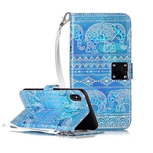 KIOKIOIPO-N Mode Magic 3D Helle farbige Zeichnung Muster Horizontal Flip PU-Leder-Kasten mit Halter & Card Slots & Wallet & Bilderrahmen for iPhone XS Max (Pattern : Tribes Elephant)