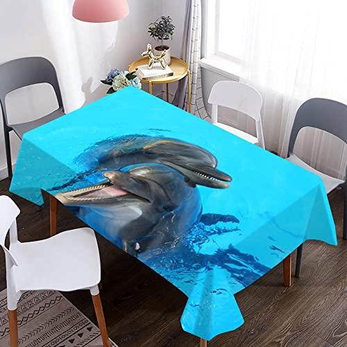 MJIA Tovaglia con Stampa di Delfini Animali marini, copritavolo da Pranzo Rettangolare Impermeabile, tovaglia per Feste da Cucina in Soggiorno M-6 140x160 cm